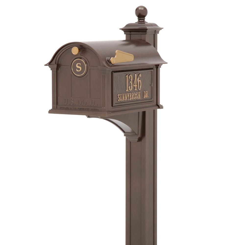 Balmoral Mailbox Side Plaques, Monogram & Post Package - Bronze