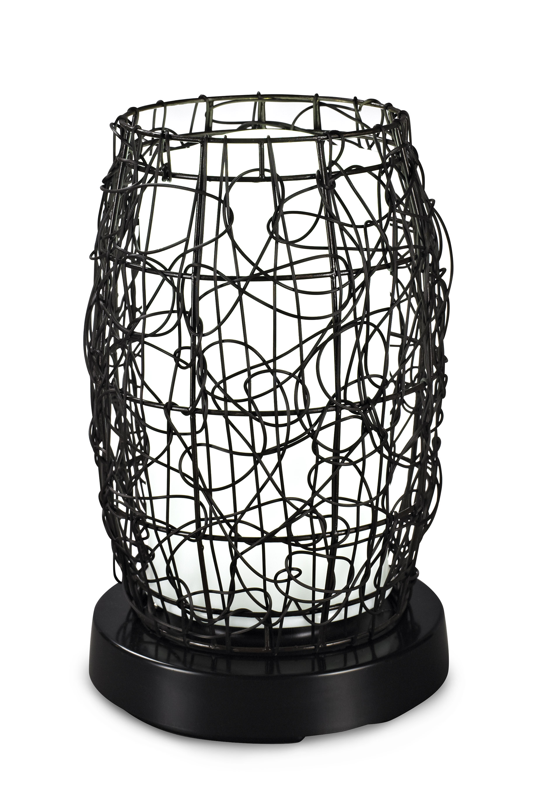 PatioGlo LED Table Lamp, Color Changing, Walnut Random Weave Resin Wicker Cover 16