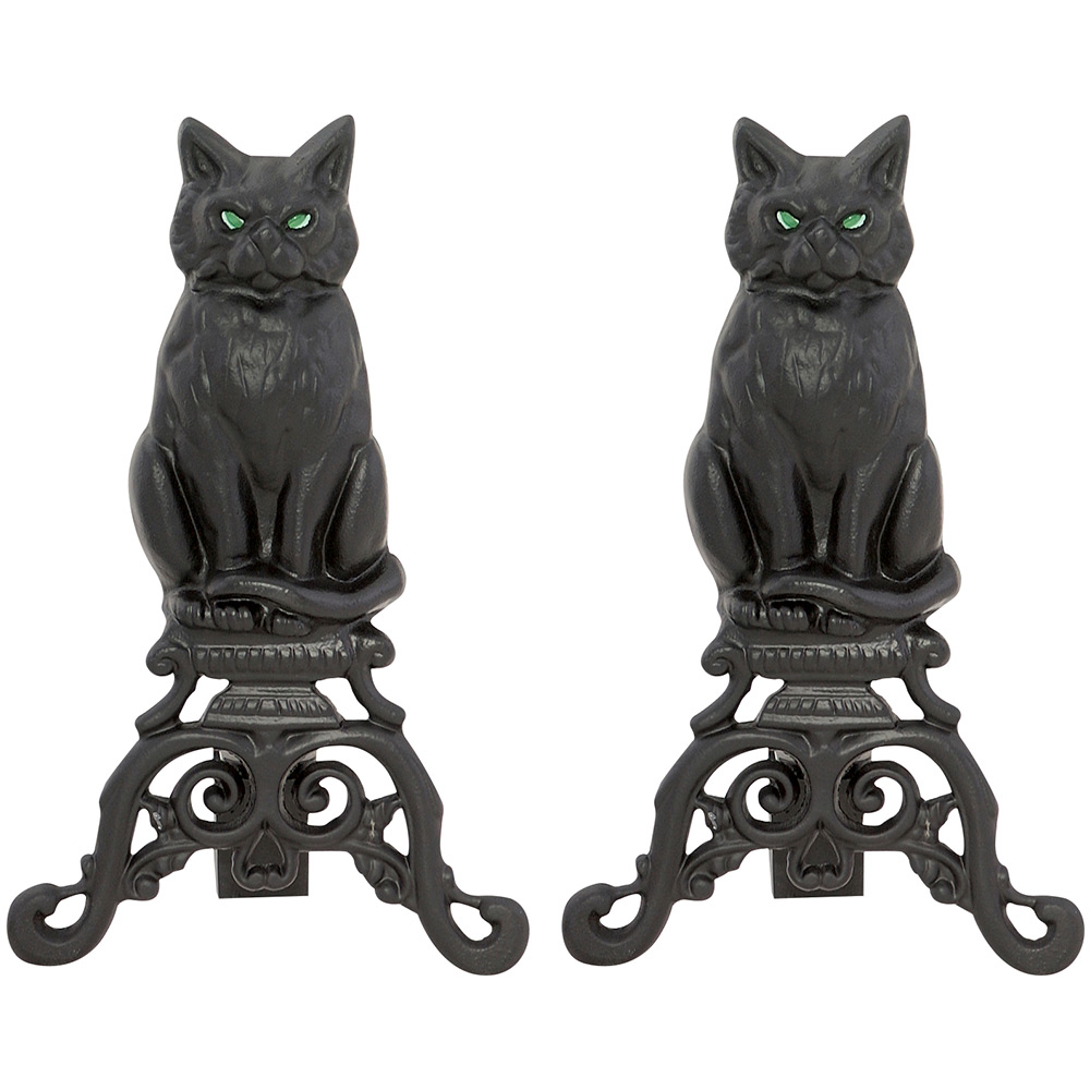 BLACK CAST IRON CAT ANDIRONS WITH REFLECTIVE GLASS EYES
