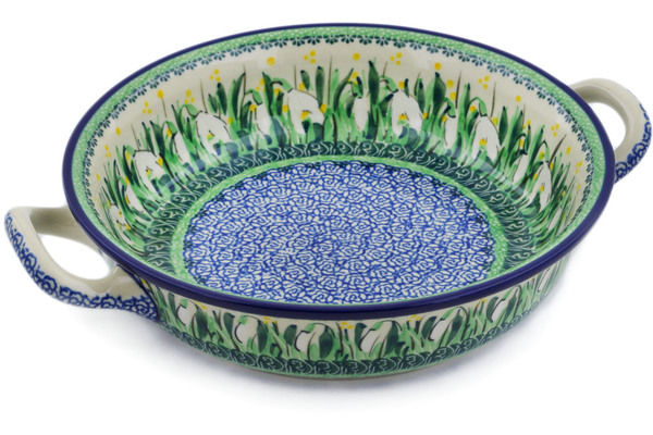 Polish Pottery Round Baker with Handles 10
