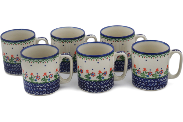 Polish Pottery Set of 6 Mugs 11 oz by Ceramica Bona