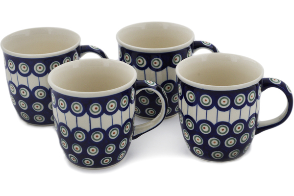 Polish Pottery Set of 4 Mugs 12 oz by Zaklady Ceramiczne