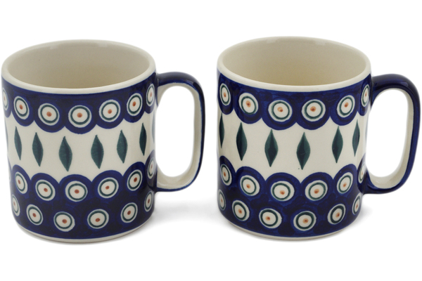Polish Pottery Set of 2 Mugs 11 oz by Ceramica Bona