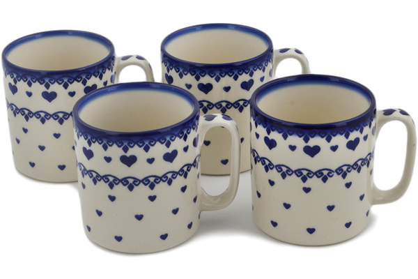 Polish Pottery Set of 4 Mugs 11 oz by Ceramica Bona