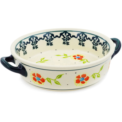 Polish Pottery Round Baker with Handles 6