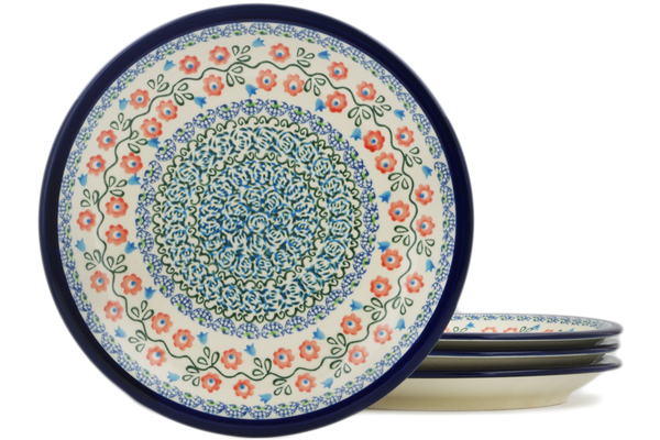 Polish Pottery Set of 4 Luncheon Plates by Zaklady Ceramiczne