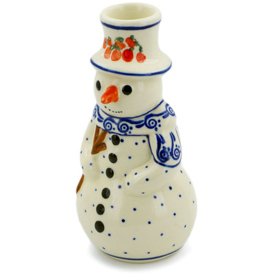 Polish Pottery Snowman Candle Holder 6