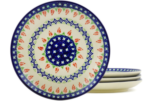 Polish Pottery Set of 4 Dessert Plates 7.5