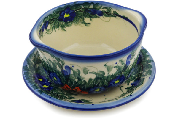 Polish Pottery Bouillon Cup with Saucer 16 oz by Cer-Raf