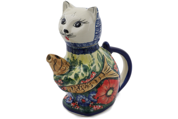 Polish Pottery Cat and Fish Creamer 17 oz by Cer-Raf