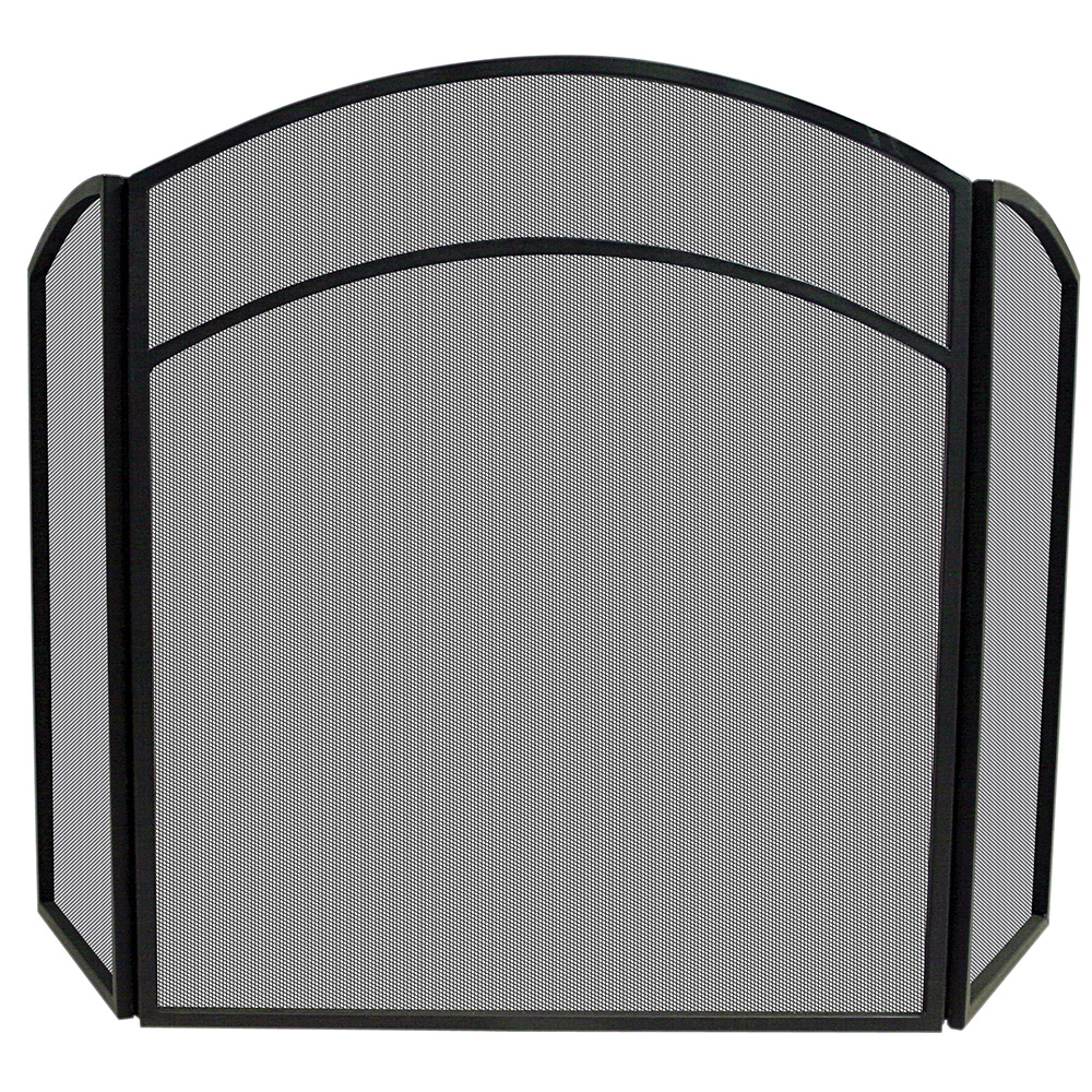 3 FOLD BLACK WROUGHT IRON ARCH TOP SCREEN