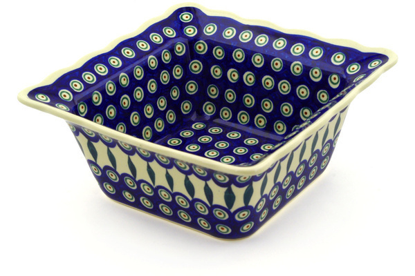 Polish Pottery Fluted Bowl, Square 9