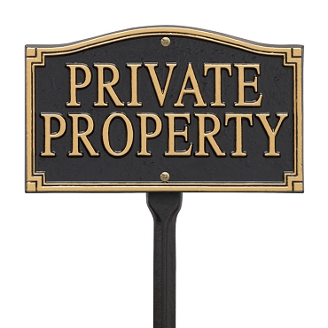 Private Property Wall/Lawn Statement Plaque