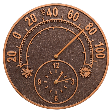 Solstice Indoor/Outdoor Wall Clock/Thermometer Combo