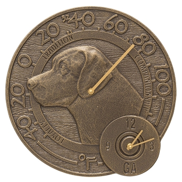 Labrador Indoor/Outdoor Wall Clock/Thermometer Combo