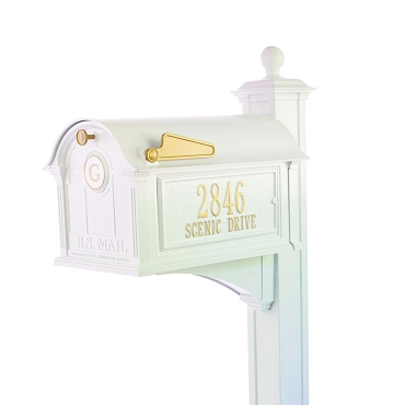 Balmoral Mailbox Side Plaques, Monogram & Post Package- White