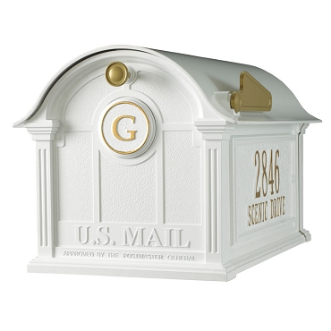 Balmoral Mailbox Side Plaques and Monogram Package - White