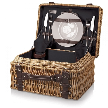 Champion Picnic Basket, (Black with Brown Accents)