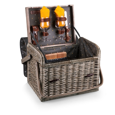 Kabrio Wine & Cheese Picnic Basket, (Anthology Collection - Gray with Gold Accents)