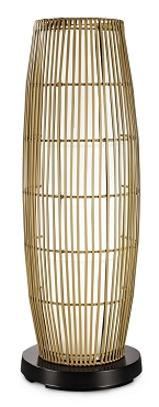 PatioGlo LED Floor Lamp, Color Changing, Natural Resin Bamboo Cover 41
