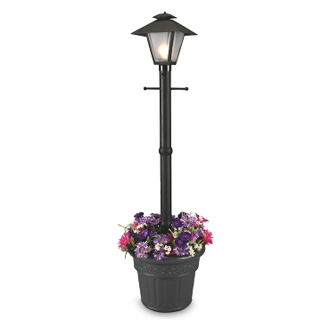 Cape Cod - Black Portable Electric Coach Lantern Planter Lamp