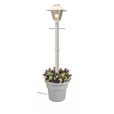 Cape Cod - White Portable Electric Coach Lantern Planter Lamp