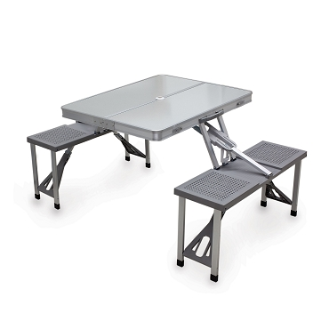 Aluminum Portable Picnic Table with Seats, (Silver)