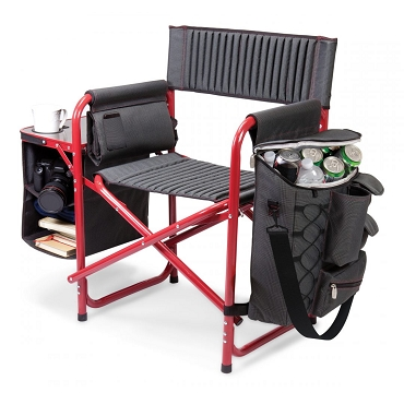 Fusion Backpack Chair with Cooler, (Dark Gray with Red Accents)