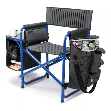 Fusion Backpack Chair with Cooler, (Dark Gray with Blue Accents)