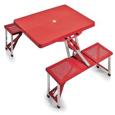 Portable Folding Picnic Table with Seats, (Red)
