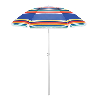 Portable Beach Umbrella, (Multicolor Stripe Pattern)