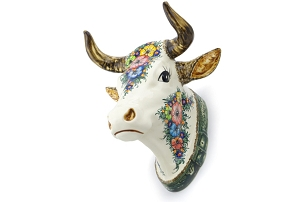 Polish Pottery Bull Head Wall Mount 13