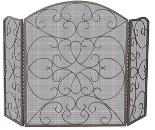 3 FOLD BRONZE SCREEN WITH ORNATE DESIGN