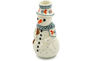 Polish Pottery Candle Holder SnowMan 6