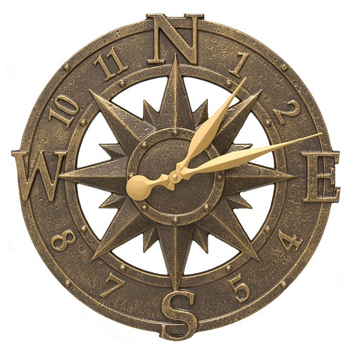 Compass Rose Indoor/Outdoor Wall Clock  - French Bronze