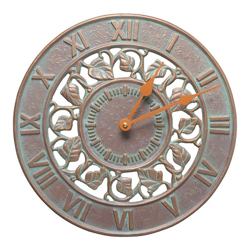 Ivy Silhouette Indoor/Outdoor Wall Clock  - Copper Verdigris