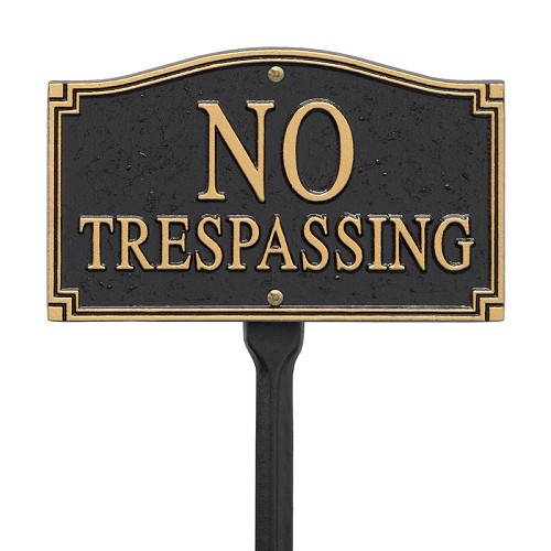 No Trespassing Wall/Lawn Statement Plaque - Black/Gold