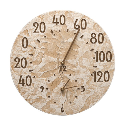 Fossil Sumac Indoor/Outdoor Wall Clock/Thermometer Combo  - Weathered Limestone