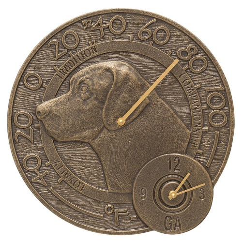 Labrador Indoor/Outdoor Wall Clock/Thermometer Combo  - French Bronze