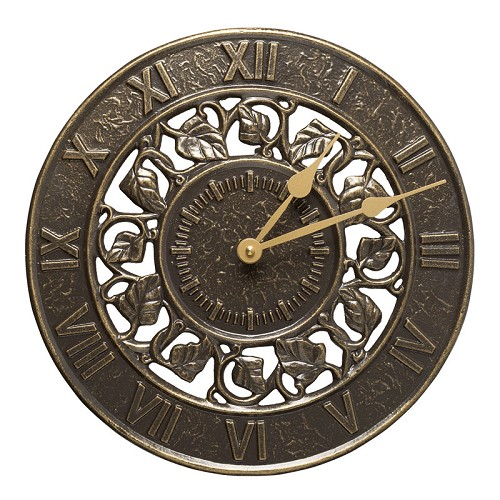 Ivy Silhouette Indoor/Outdoor Wall Clock  - French Bronze