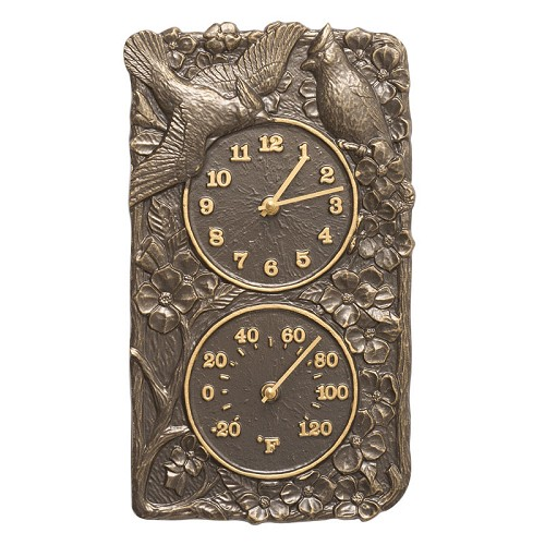 Cardinal Indoor/Outdoor Wall Clock/Thermometer Combo  - French Bronze
