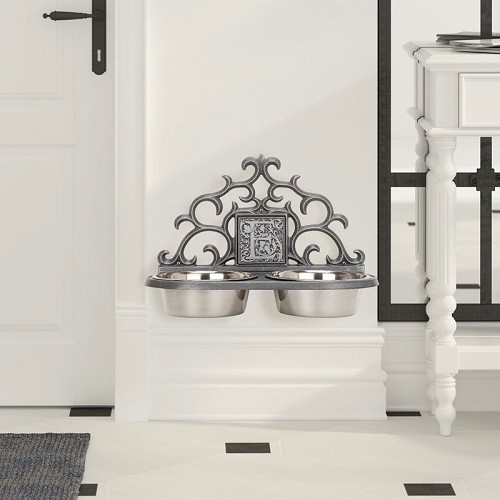 Personalized Monogram Wall-Mount Pet Bowl Feeder