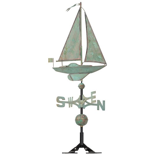 Copper Sailboat Weathervane - Verdigris