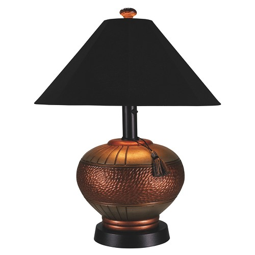 Phoenix - Portable Weatherproof Copper Table Lamp (Copper lamp shown with #46 black canvas shade.)