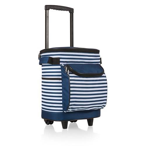 Portable Rolling Cooler, (Navy Blue & White Stripe)