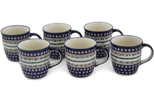 Polish Pottery Set of 6 Mugs 12 oz by Zaklady Ceramiczne
