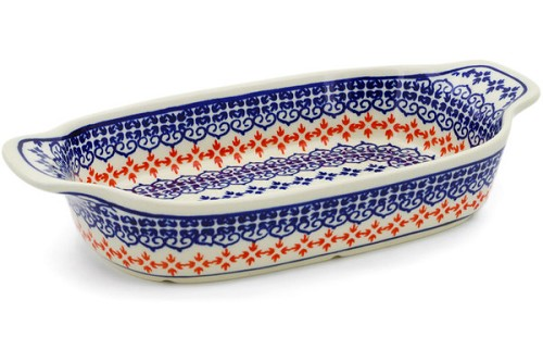 Polish Pottery Rectangular Baker with Handles by Zaklady Ceramiczne