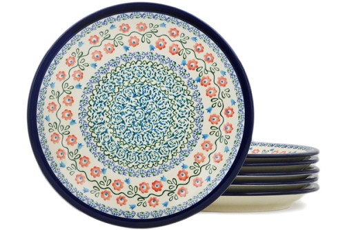 Polish Pottery Set of 6 Luncheon Plates by Zaklady Ceramiczne