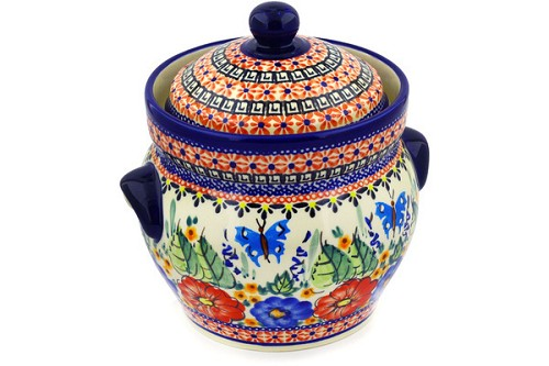 "Polish Pottery Jar with Lid and Handles 8"" by Zaklady Ceramiczne"