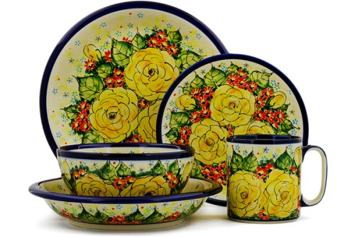 Polish Pottery Place Setting 5-Piece by Cer-Raf